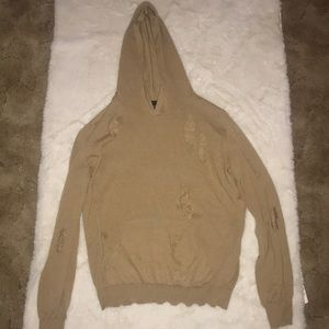 Forever 21 Tan Hooded Ripped Sweater